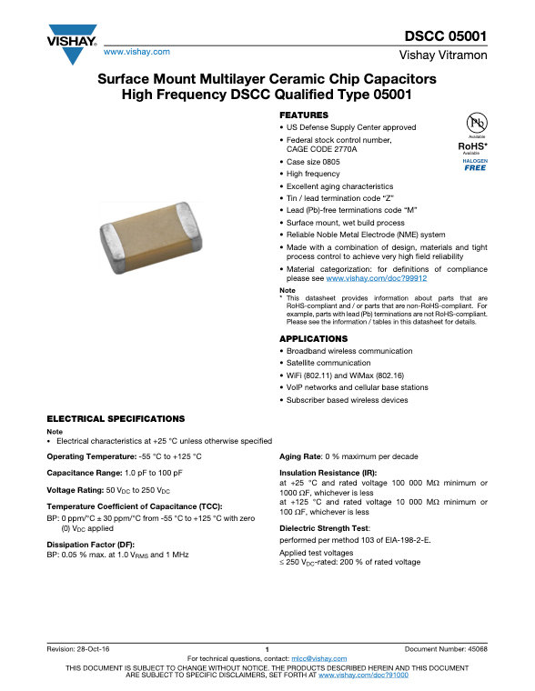 Vishay DSCC 05001 Series MLC Capacitors
