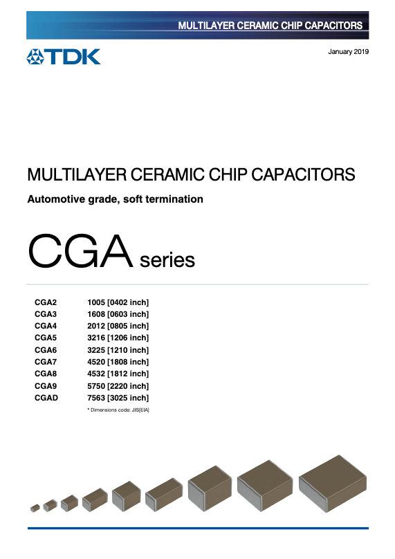 TDK CGA Series Soft Termination MLC Chip Capacitors