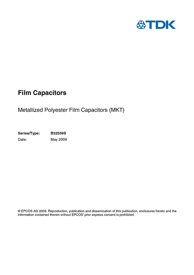 Epcos B32559S Series Metallized Polyester Capacitors