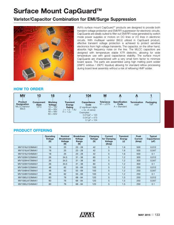 AVX Surface Mount Capguard™ Series MLC Capacitors