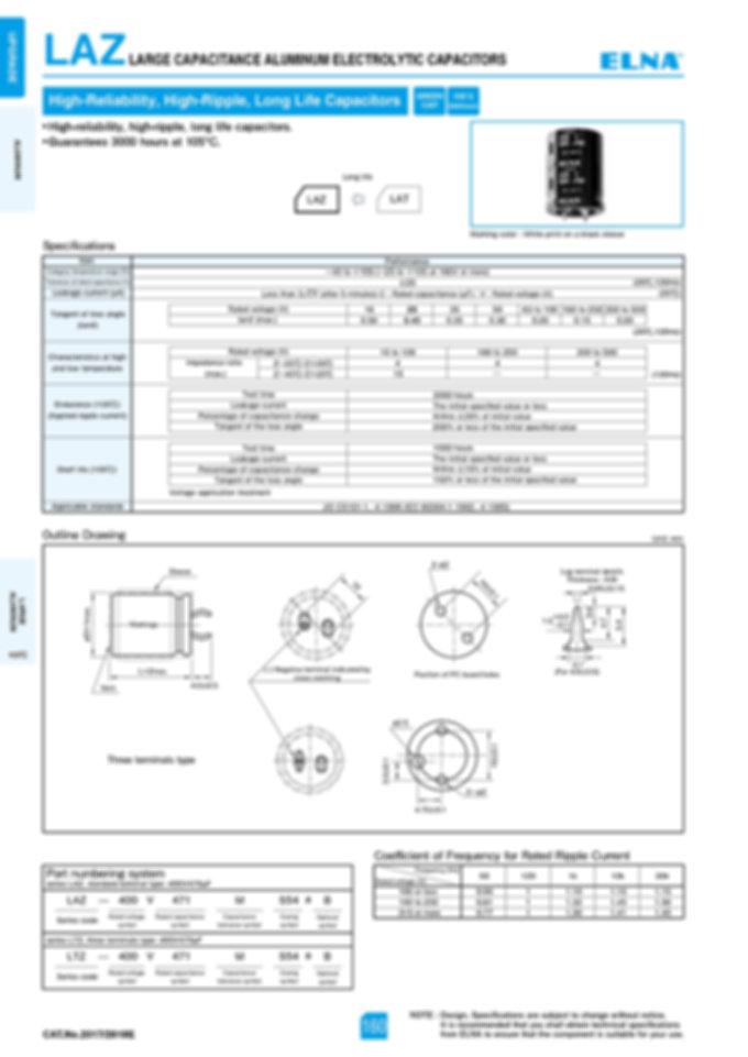 Elna LAZ Series Aluminum Electrolytic Capacitors