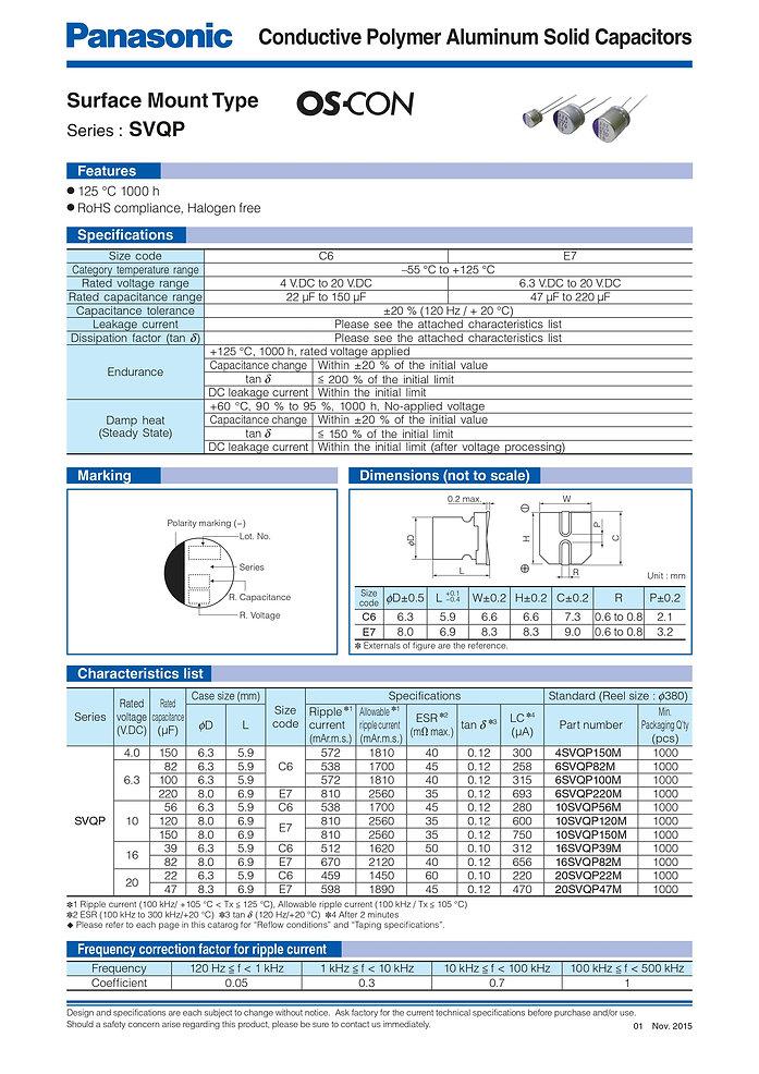 Panasonic SVQP Series Aluminum Polymer Capacitors