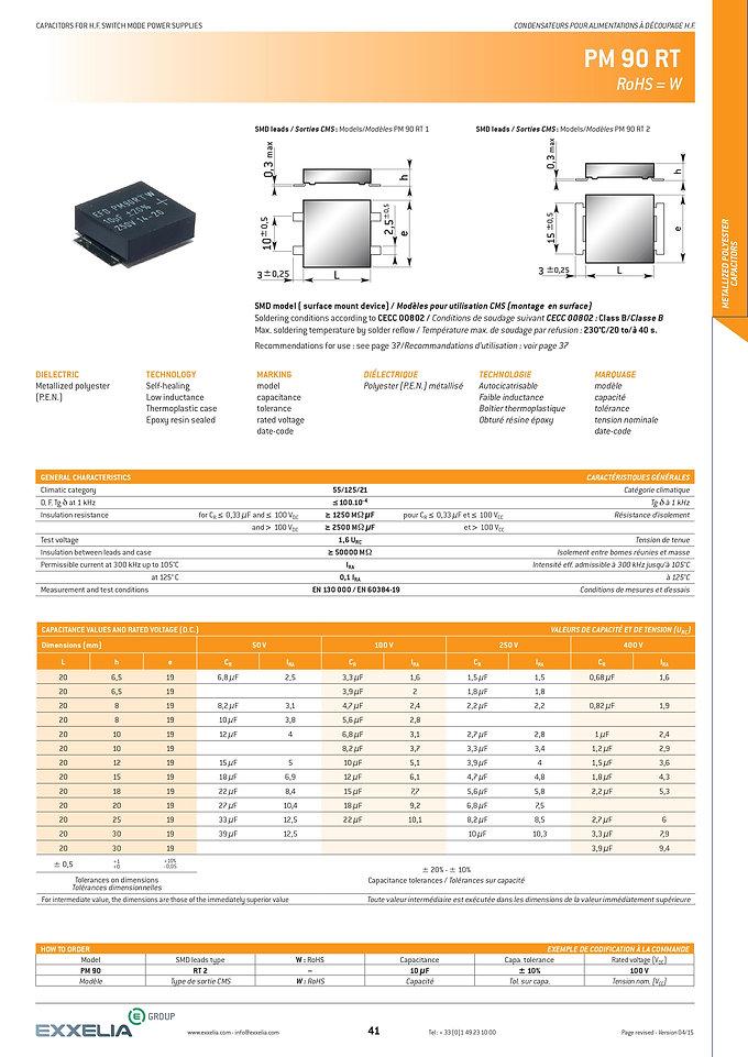 Exxelia PM 90 RT Series Film Capacitors