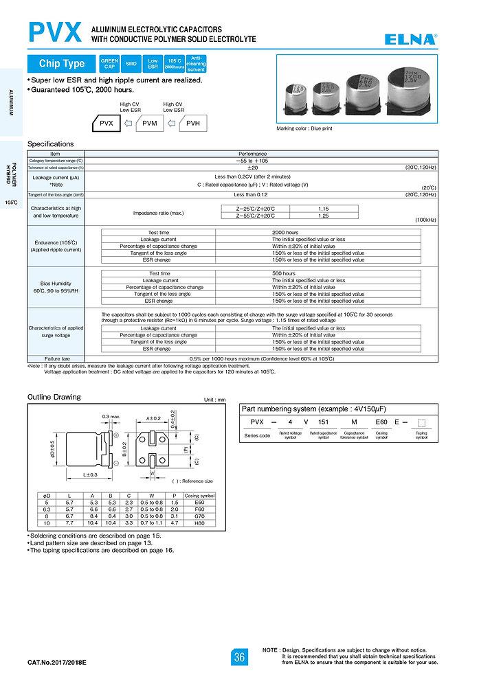 Elna PVX Series Aluminum Polymer Capacitors
