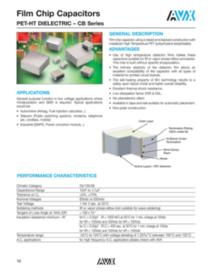 AVX CB Series PEH HT Series Plastic Film Capacitors