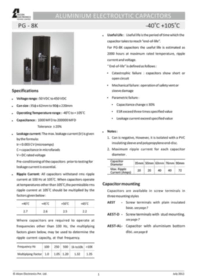 Alcon Electronics PG 8K Series Aluminum Electrolytic Capacitors