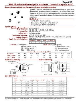 CDE Type AVS Aluminum Electrolytic Capacitors