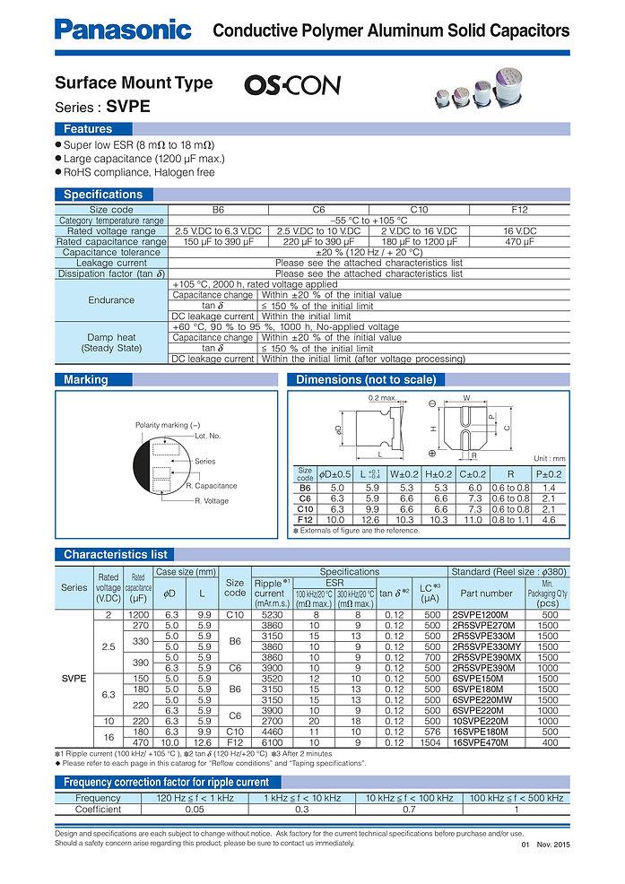 Panasonic SVPE Series Aluminum Polymer Capacitors