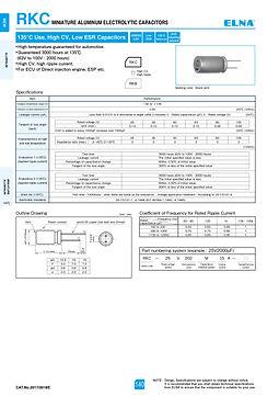 Elna RKC Series Aluminum Electrolytic Capacitors