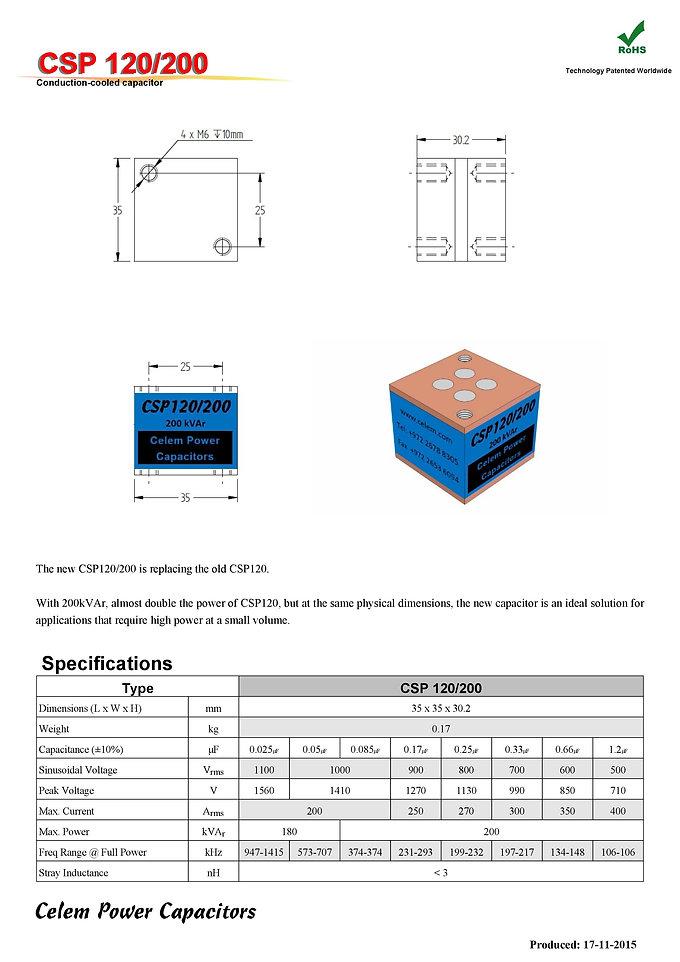Celem CSP 120/200 Series Film Capacitors