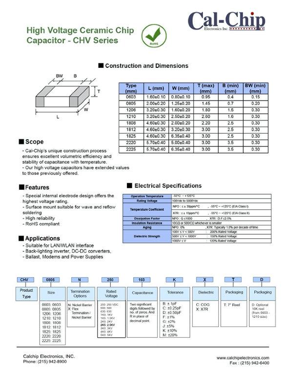 Cal Chip CHV Series MLC Capacitors