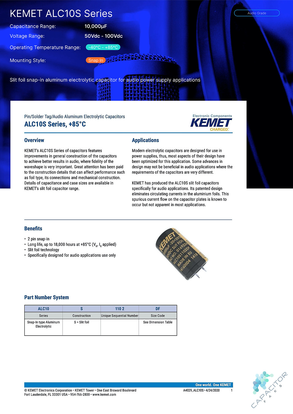 KEMET ALC10S Series Capacitor Data Sheet