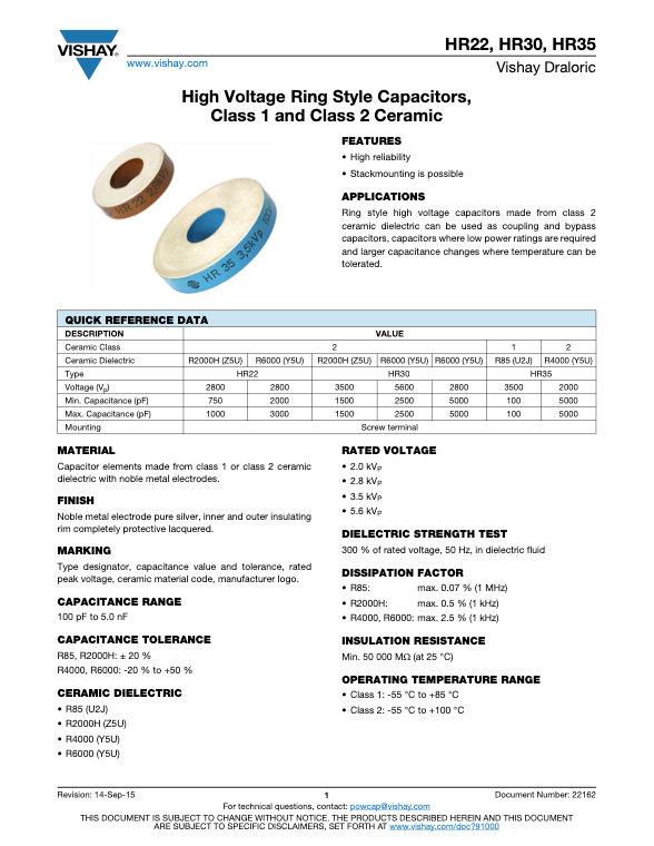 Vishay HR22/30/35 Series Ring Style Ceramic Capacitors