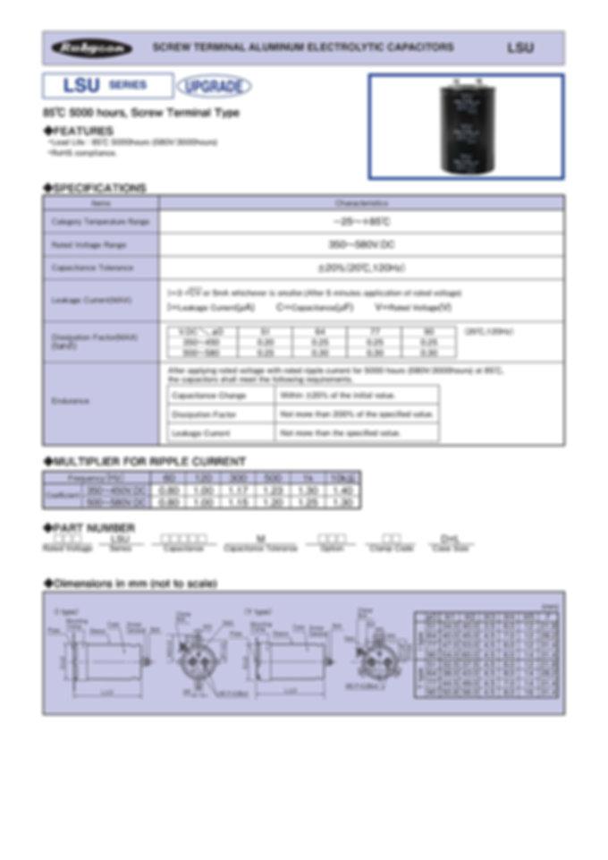 Rubycon LSU Series Screw Terminal Aluminum Electrolytic Capacitors
