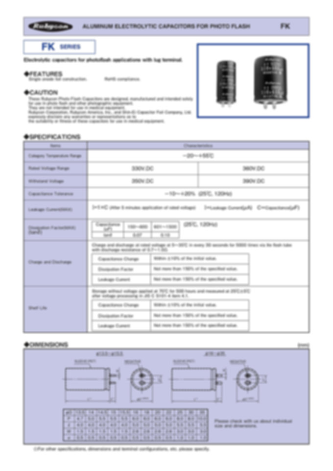 Rubycon FK Series Photo Flash Capacitors