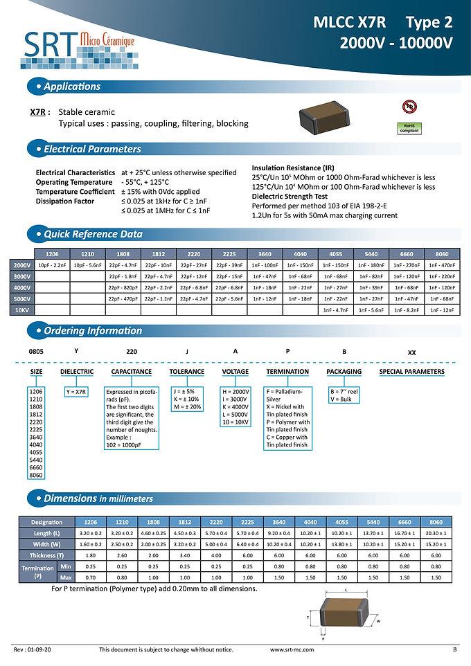 SRT Microceramique X7R 2KVDC-10KVDC MLC Capacitors