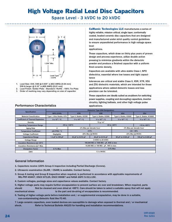 Calramic Space Grade High Voltage Ceramic Disc Capacitors