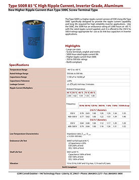 CDE Type 500R Screw Aluminum Capacitors