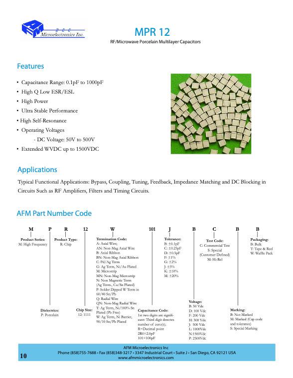 AFM Microelectronics MPR12 Series Porcelain Chip Capacitors