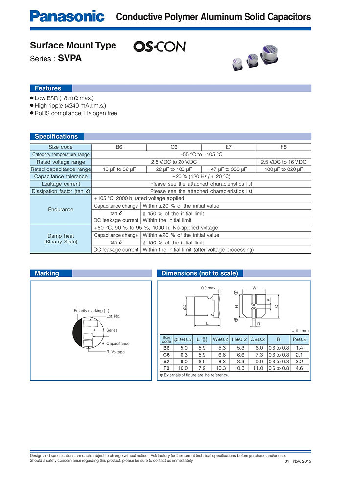 Panasonic SVPA Series Aluminum Polymer Capacitors