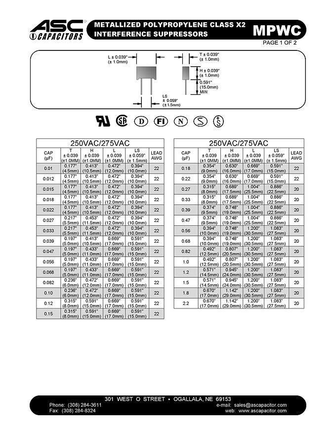 ASC MPWC Series Film Caapcitors