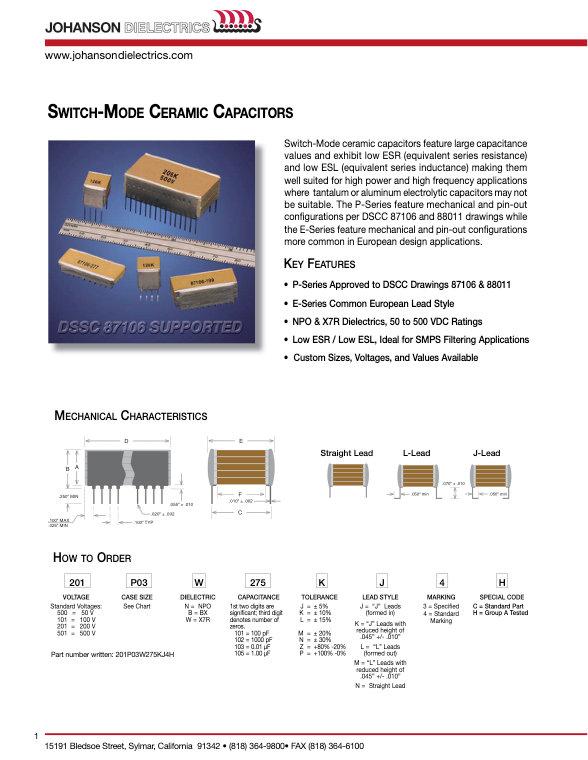 JDI SMPS Multilayer Ceramic Capacitors