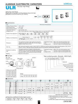 Nichicon ULR Series Capacitor Data Sheets