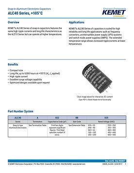 KEMET ALC40 Series Aluminum Electrolytic Capacitors