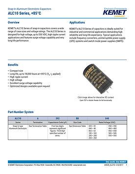 KEMET ALC10 Series Aluminum Electrolytic Capacitors