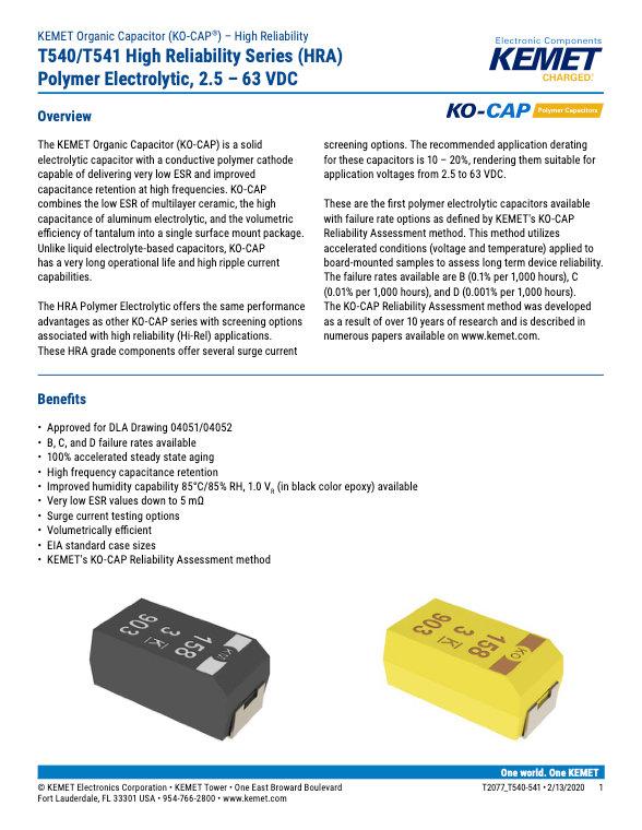 KEMET T540_541 Series Tantalum Capacitors
