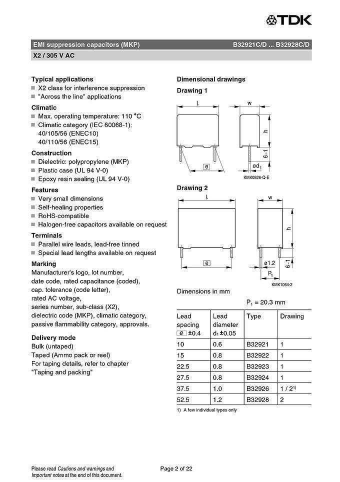 Epcos B32921 Series EMI Suppression Capacitors
