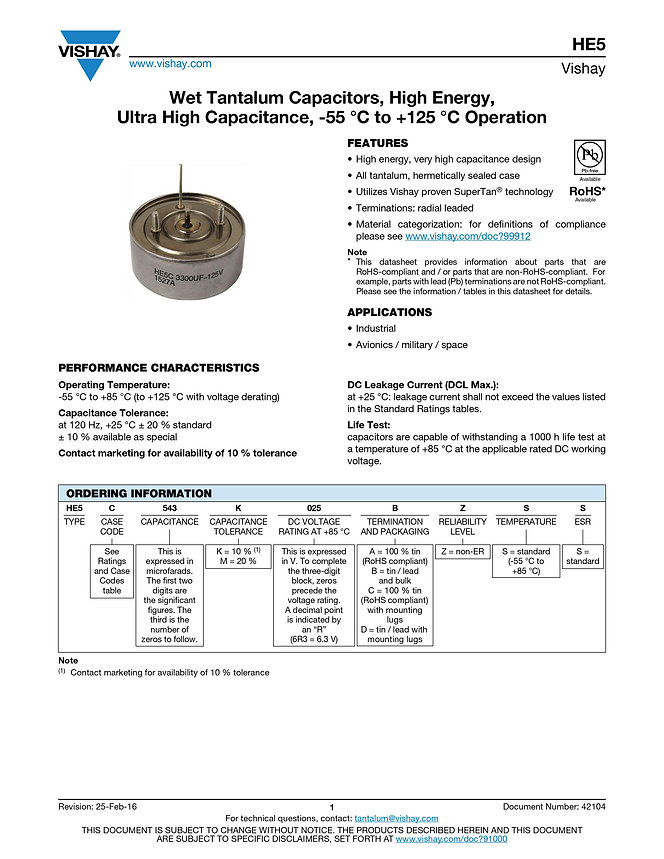 Vishay HE5 Series Wet Tantalum Capacitors
