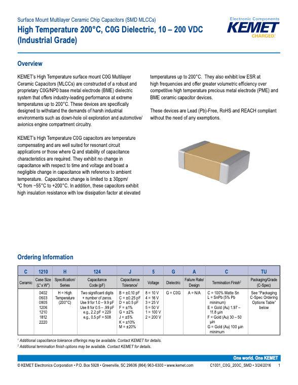 KEMET High Temperature 200°C MLC Capacitors