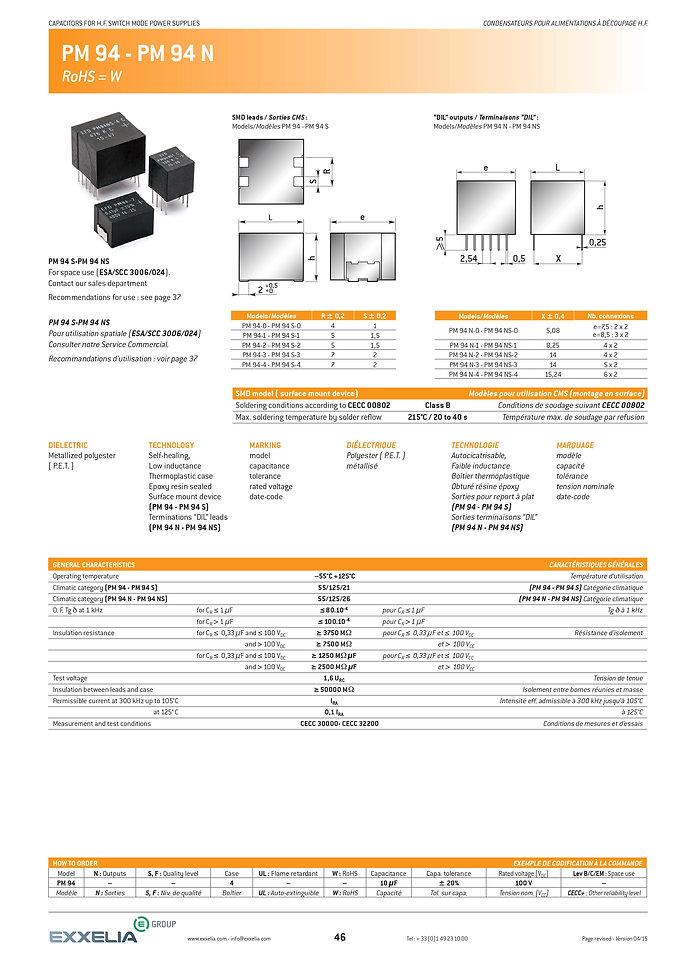 Exxelia PM 94 Series Film Capacitors