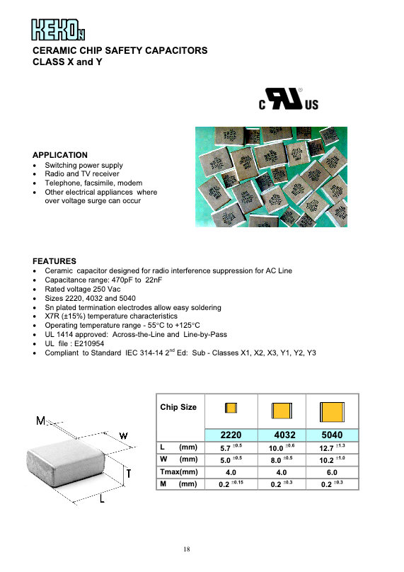 Kekon Safety Rated MLC Chip Capacitors