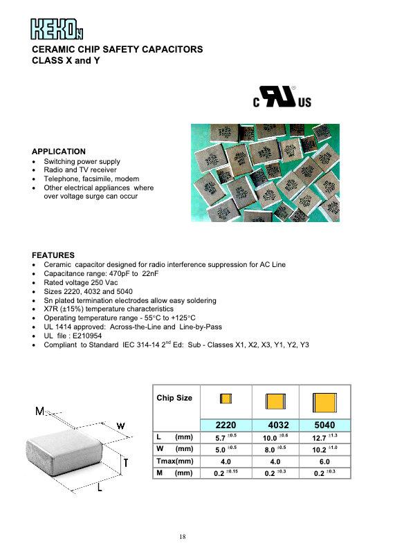 Kekon Safety Rated MLC Chip Capacitors