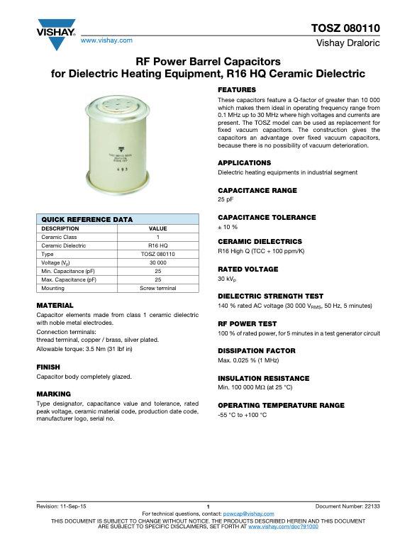 Vishay TOSZ 080110 Series RF Ceramic Capacitors