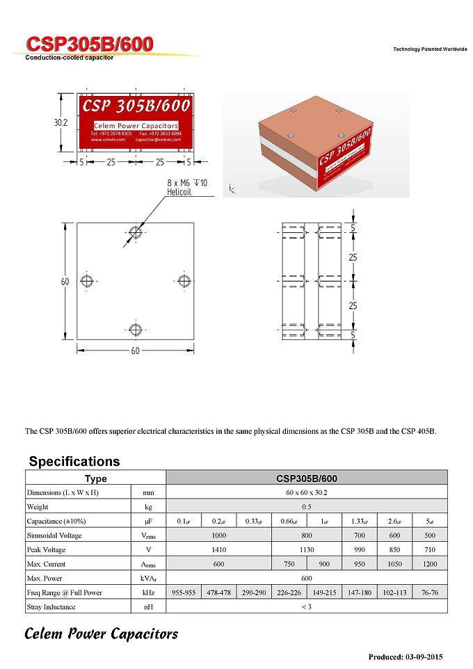 Celem CSP 305B/600 Series Film Capacitors