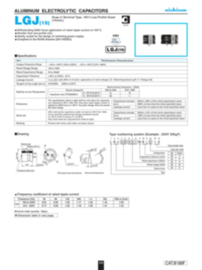 Nichicon LGJ (15) Series Aluminum Capacitors