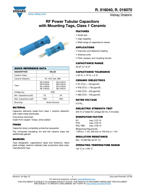 Vishay R. 016... Series RF Ceramic Capacitors