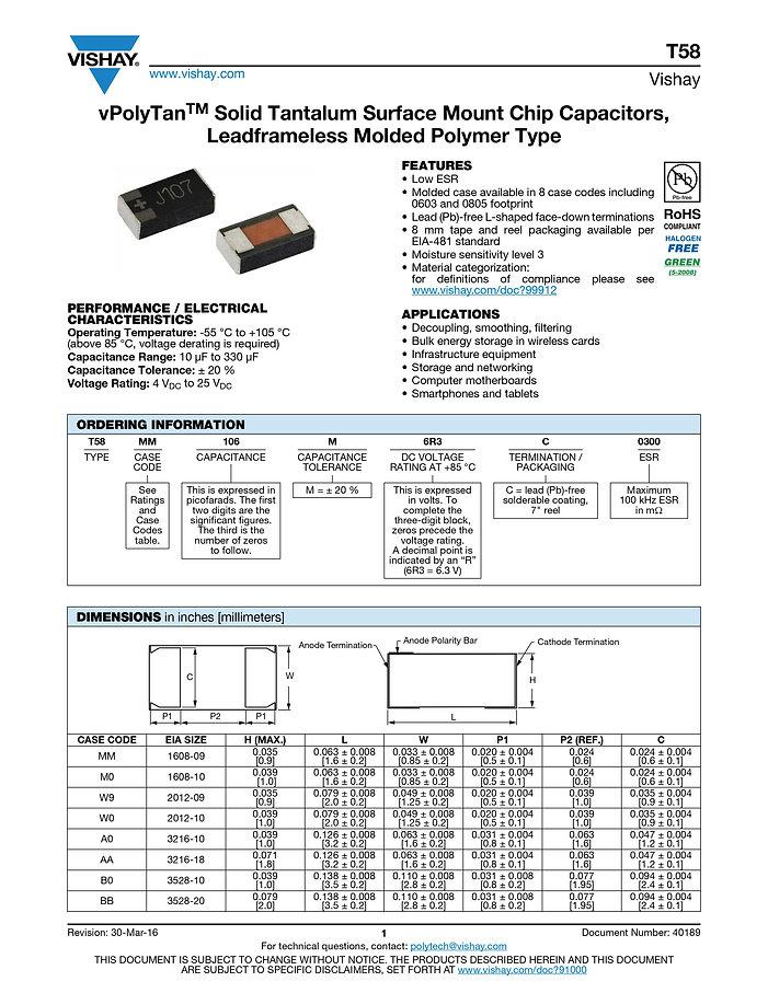 Vishay T58 Series Tantalum Polymer Capacitors