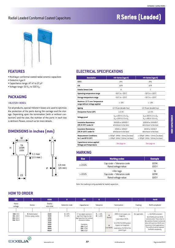 Exxelia R Series Leaded MLC Capacitors