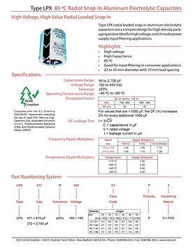 CDE Type LPX Snap In Aluminum Electrolytic Capacitors