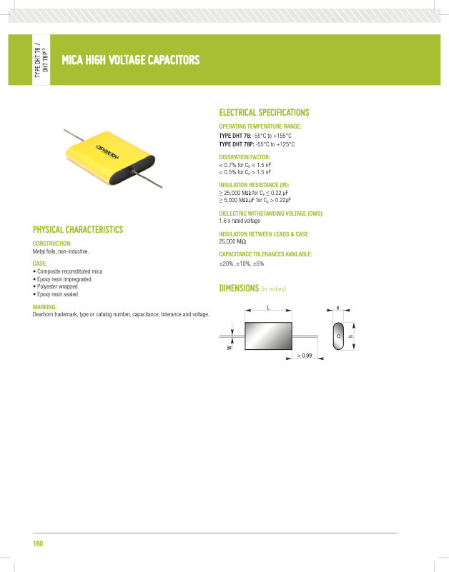 Dearborn DHT78 Series High Voltage Mica Capacitors