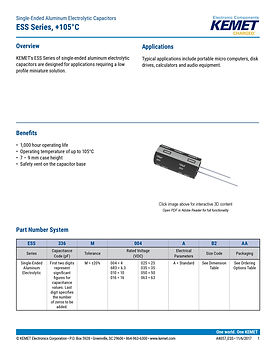 KEMET ESS Series Aluminum Capacitors