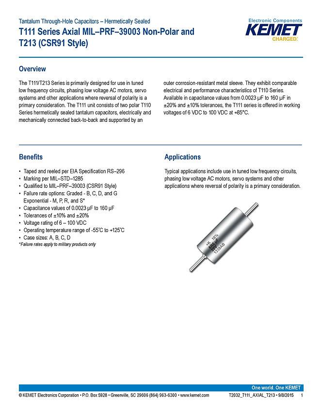 KEMET T111 Series Tantalum Capacitors
