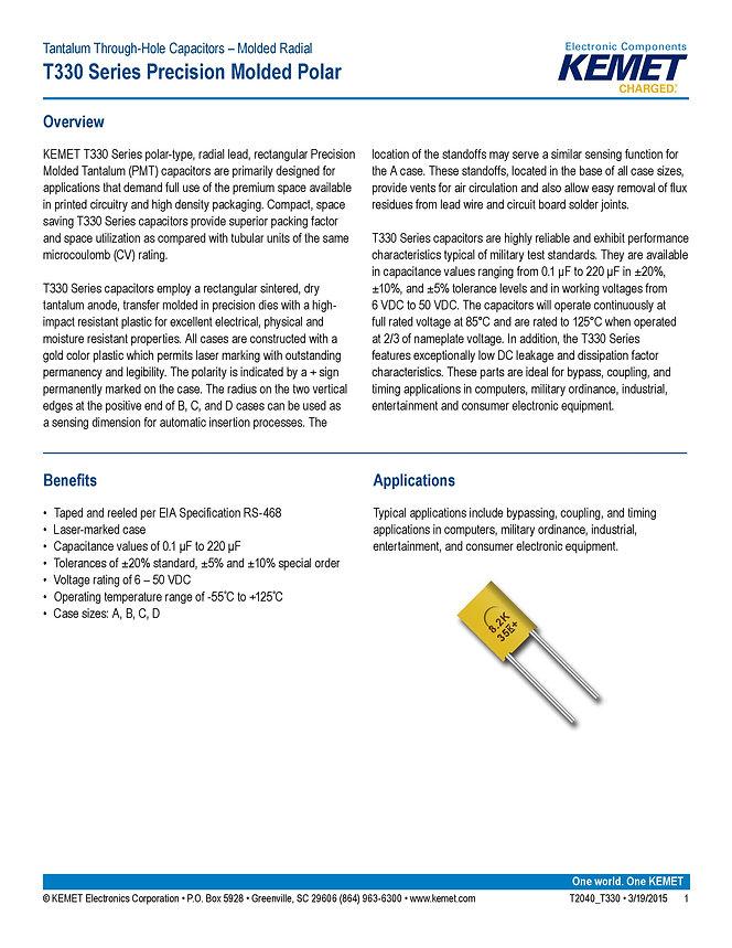 KEMET T330 Series Tantalum Capacitors