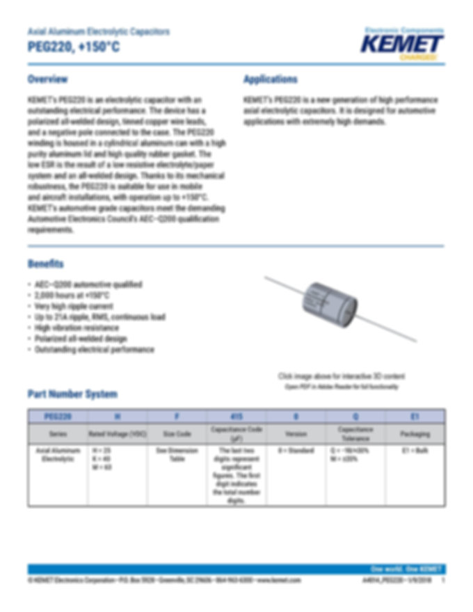 KEMET PEG220 Series Aluminum Electrolytic Capacitors