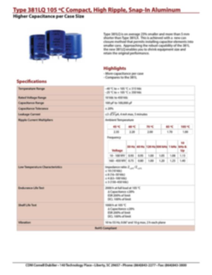 CDE Type 381LQ Snap In Aluminum Electrolytic Capacitors