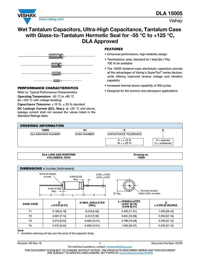 Vishay DLA 15005 Series Tantalum Capacitors